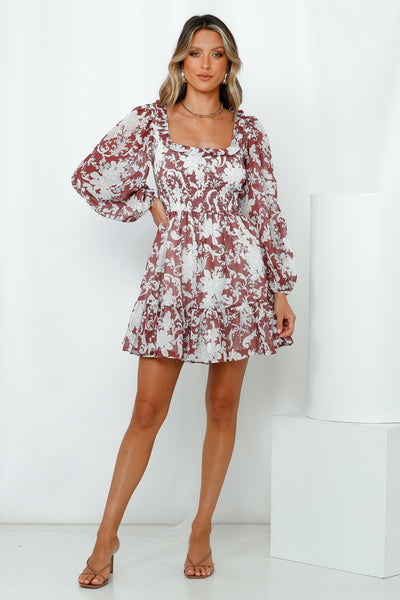 Flirty Feeling Dress Maroon