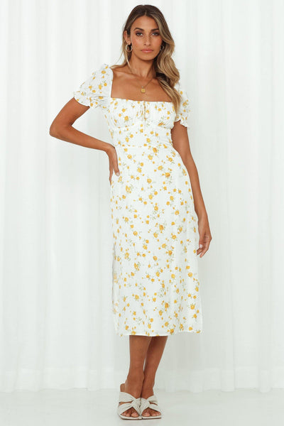 Sun Sand Sea Midi Dress White