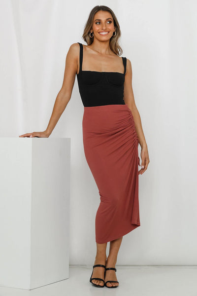 Just Pretending Midi Skirt Maroon | Hello Molly USA