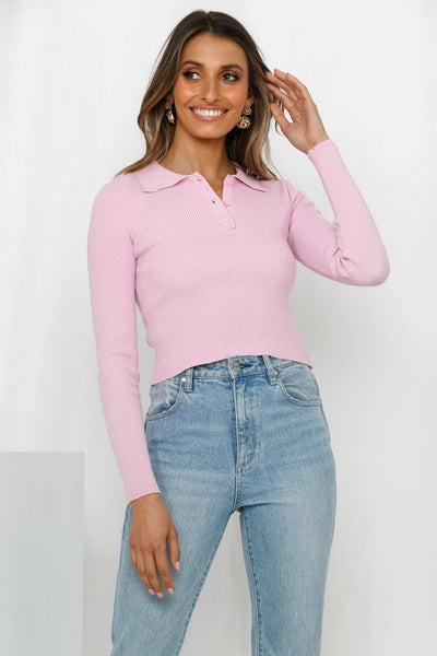 Co-Dependent Knit Shirt Lilac | Hello Molly USA