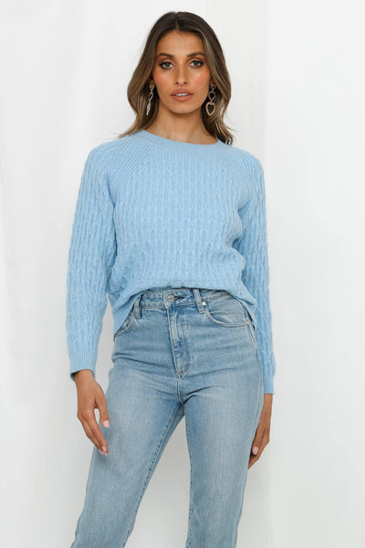 Balanced Act Knit Jumper Blue | Hello Molly USA