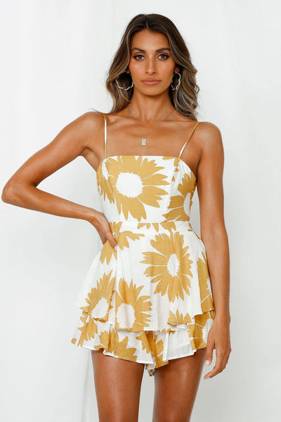 Take First Place Romper Yellow