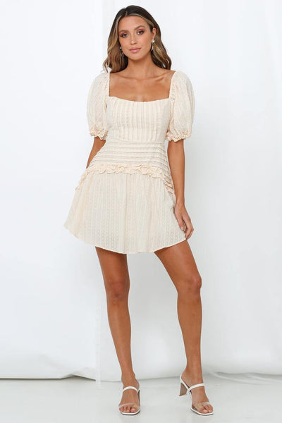 Down In Dundee Dress Beige | Hello Molly USA