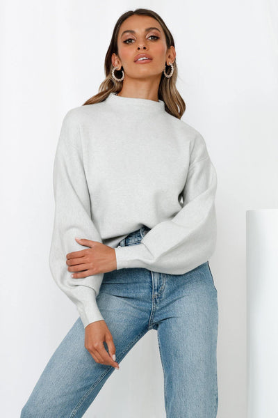 You Go Girl Knit Sweater Grey