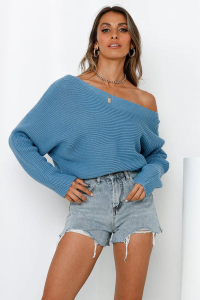 Sweet Return Knit Top Blue