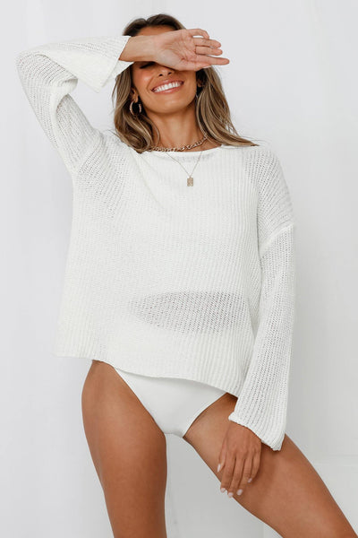 Best Selfie Ever Knit Top Ivory | Hello Molly USA