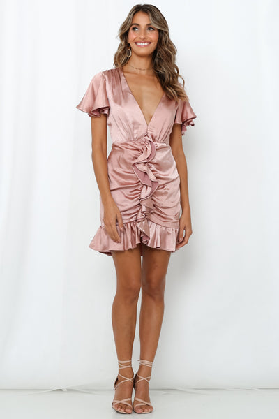 Coming Undone Dress Rose