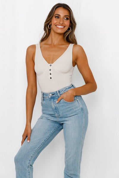 Stylish Comeback Bodysuit Beige