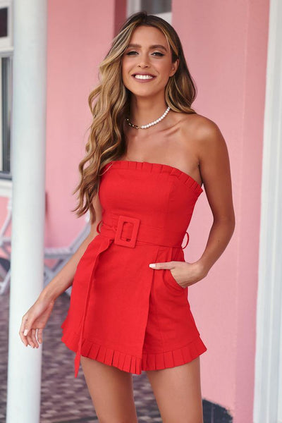 Distant Music Boxes Romper Red