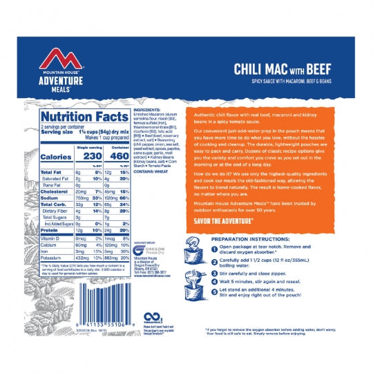 Mountain House Freeze Dried Chili Mac with Beef Entree Pouch