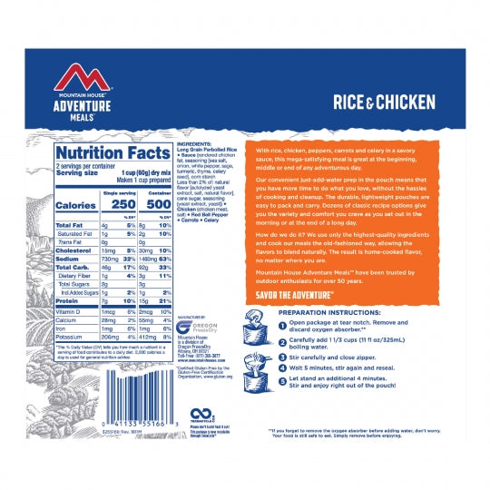 Mountain House Freeze Dried Rice & Chicken Entree Pouch - GF