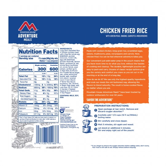 Mountain House Freeze Dried Chicken Fried Rice Entree Pouch - GF