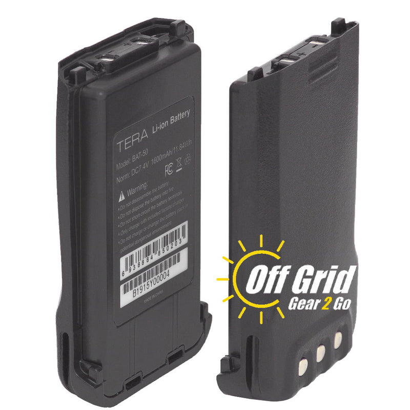 TERA BAT-50 Li-ion 1600 mAh Battery Pack for the TR-500, TR-505, and TR-590 handheld radios