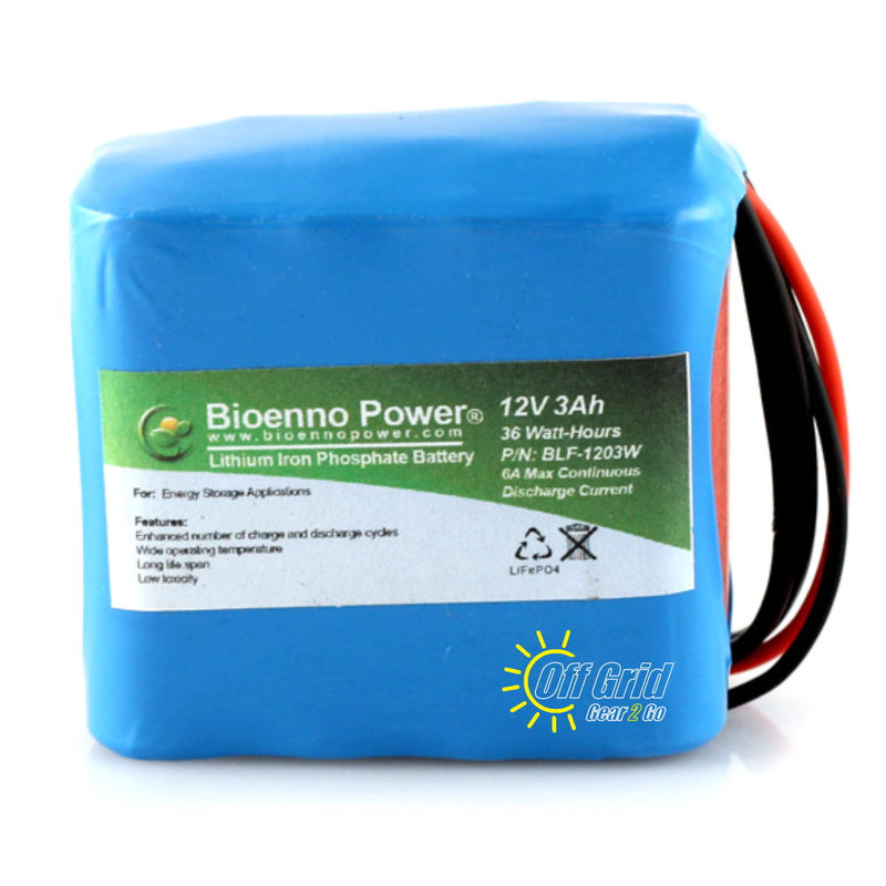 Bioenno BLF-1203W 12V, 3Ah Lithium Iron Phosphate (LiFePO4) Battery, PVC