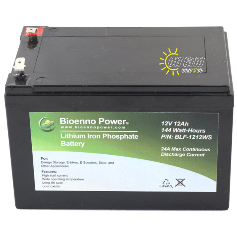 Bioenno BLF-1212AS 12V, 12Ah Lithium Iron Phosphate (LiFePO4) Battery, ABS