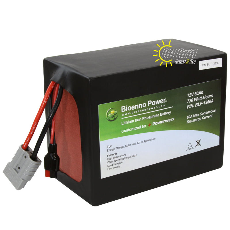 Bioenno BLF-1260A 12V, 60Ah Lithium Iron Phosphate (LiFePO4) Battery, PVC