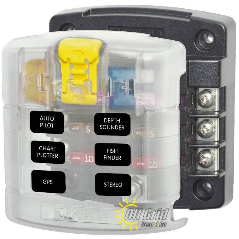 Blue Sea 5028 6 Circuit Blade Fuse Block with Cover