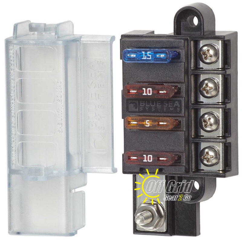 Blue Sea 5045 4 Circuit ST Blade Compact Fuse Block with Cover, 4 Circuits