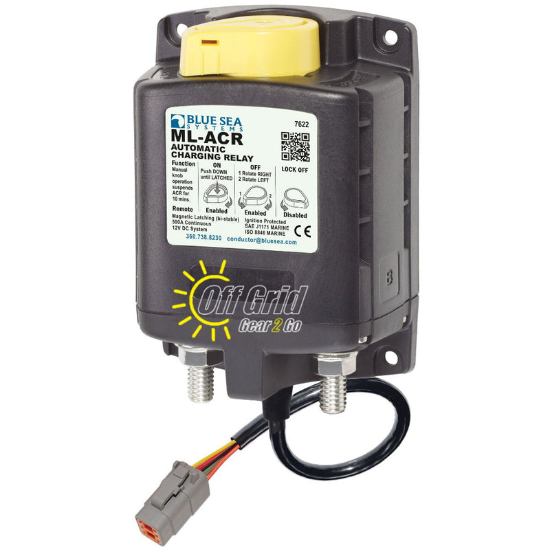 Blue Sea 7622100B ML-ACR Automatic Charging Relay for Auxiliary Batteries with Deutsch DTM Connector 12V/500 Amps