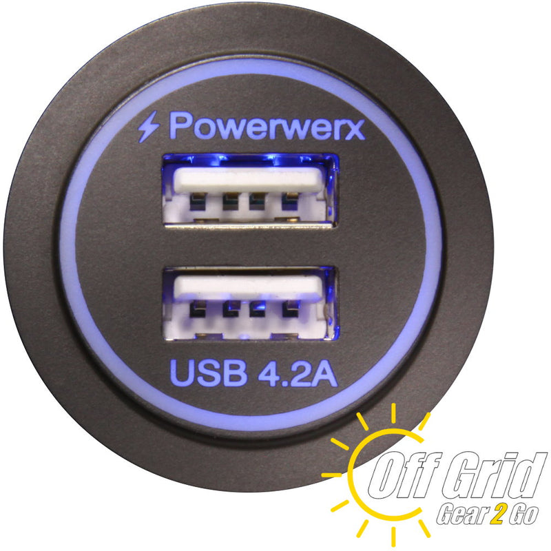 PanelUSB-Blue - Panel Mount Dual USB 4.2A Fast Device Charger for 12/24V Systems - Backlit Blue