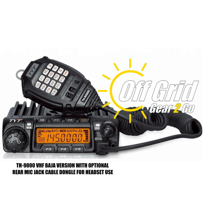 TYT TH-9000D BAJA VHF Single Band Mobile Transceiver Radio w/Optional Headset Cable