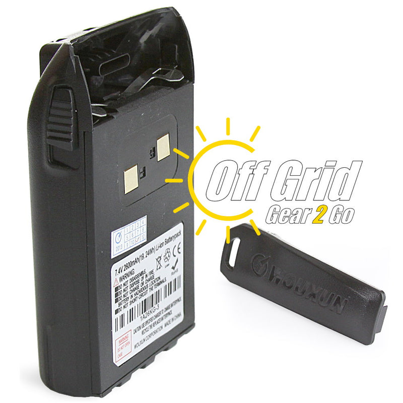 Wouxun WXEHB High Capacity 2600 mAh Li-ion Battery Pack for KG-UV3/6 Series