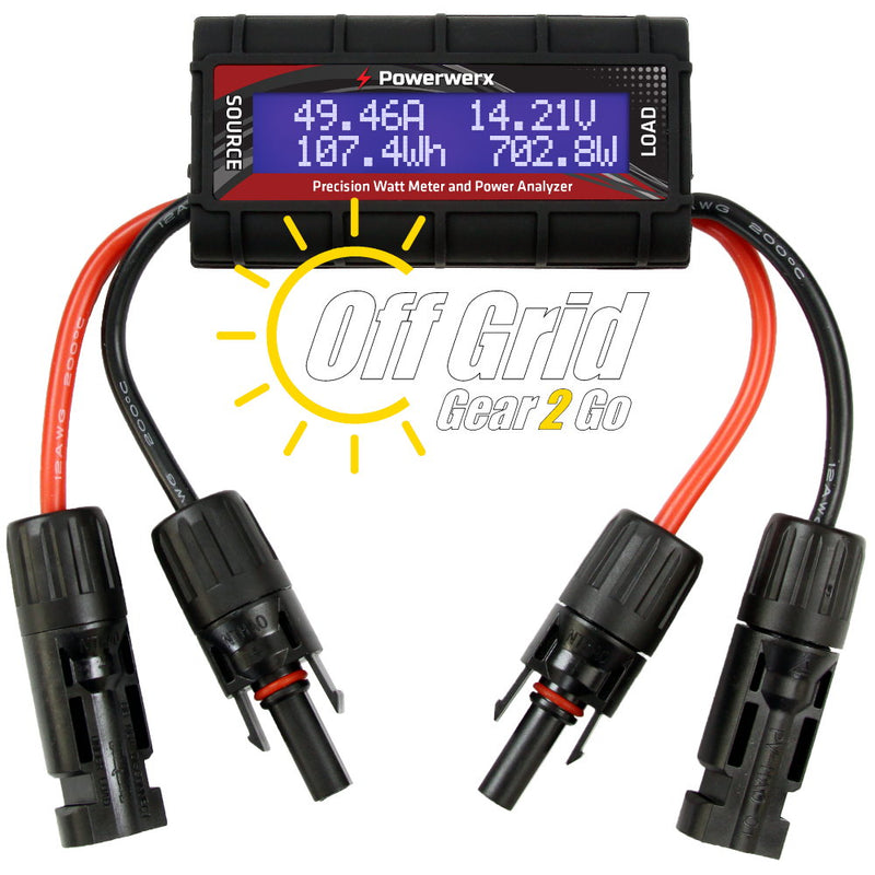 WattMeter-MC4 - Watt Meter with DC Inline Power Analyzer, 45A Continuous, 12 Gauge, MC4 Solar Connectors