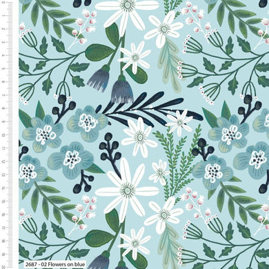 Garden Party - Flowers on Blue - 100% Cotton