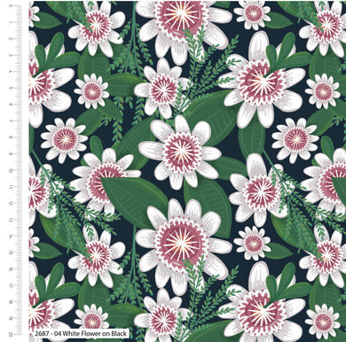 Garden Party - White Flowers -  100% Cotton