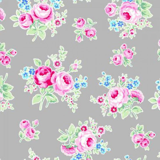 Flower Sugar -Roses on Grey - 100% Cotton