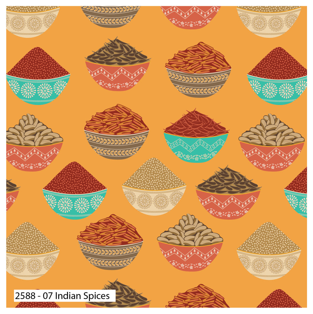 New Delhi - Indian Spices - by Debbie Shore - 100% Cotton