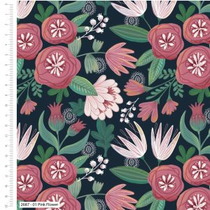 Garden Party - Pink Floral- 100% Cotton