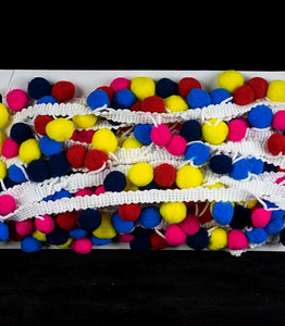 2cm Multi-coloured Pom Pom Trim