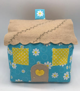 Door Stop Cottage - Blue & Yellow Floral- Handmade
