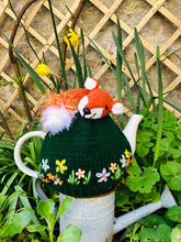 Load image into Gallery viewer, Sleeping Fox in the flower meadow - Knitted Tea Cosy Kit