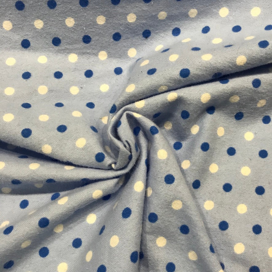 Brushed Cotton - Blue Polka Dot