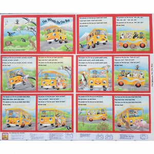 Wheels on the Bus - Book Panel - 100% Cotton