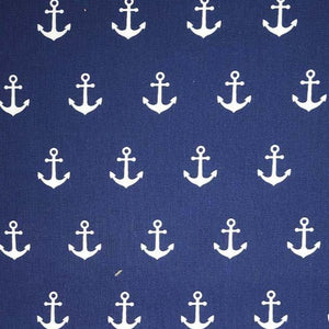 Anchors - Navy - 100% Cotton
