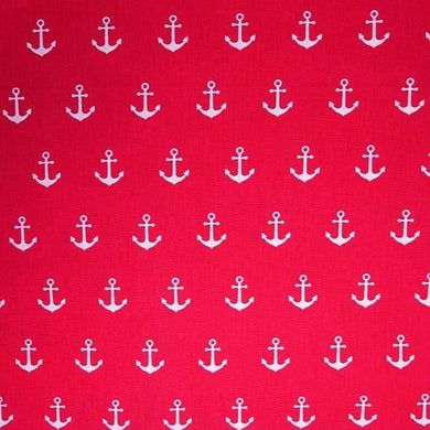 Anchors - Red - 100% Cotton