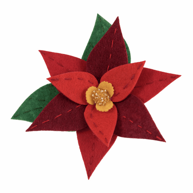 Poinsettia Brooch Sewing Kit