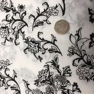 Monochrome Flowers - 100% Cotton
