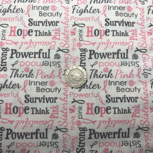 Think Pink - Words - by Riley Blake - 100% Cotton