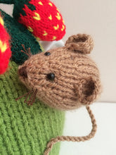 Load image into Gallery viewer, Pesky Mouse in the strawberry patch - Knitted Tea Cosy Kit
