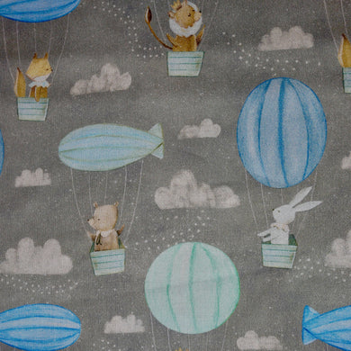 Adventures in the Sky - Hot Air Balloon - 3 Wishes - 100% Cotton