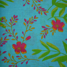 Load image into Gallery viewer, Tropical Flowers - Blue - Cotton