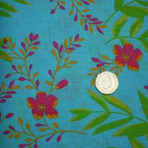 Tropical Flowers - Blue - Cotton