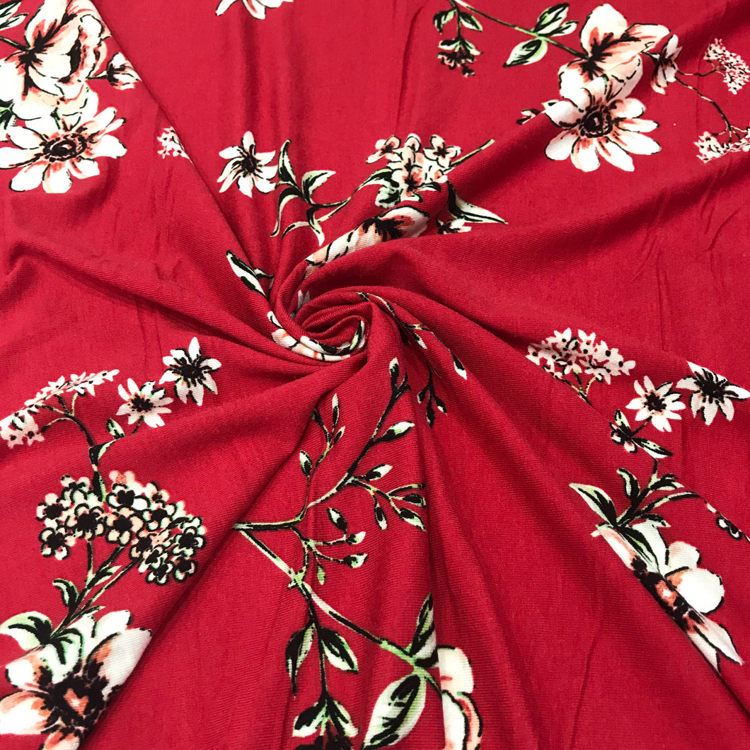 Cotton Jersey Fabric - Red Flowers