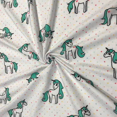 Cotton Jersey Fabric - Unicorns