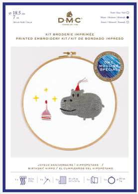 DMC Cross Stitch Kit - Birthday! Hippo