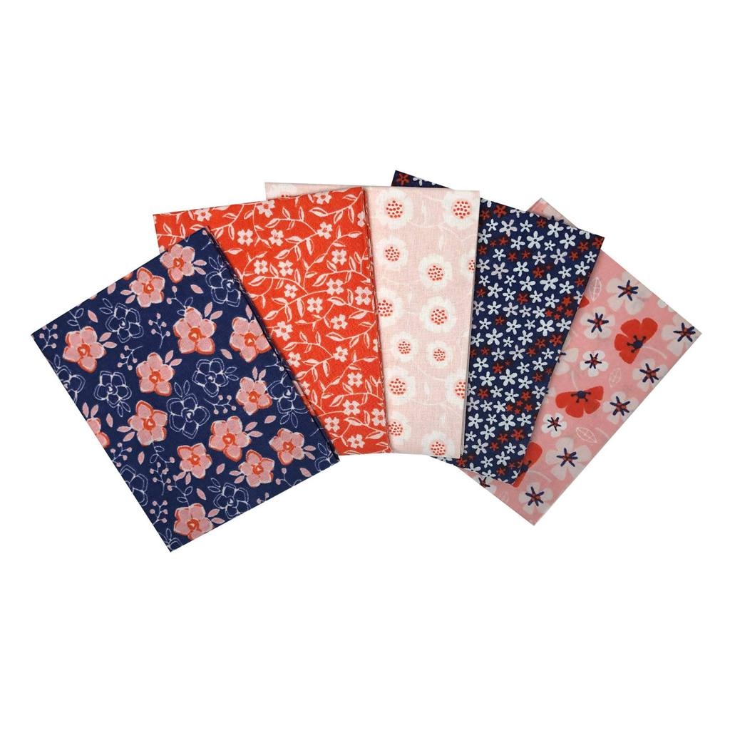 Fat Quarter Pack - Floral Navy